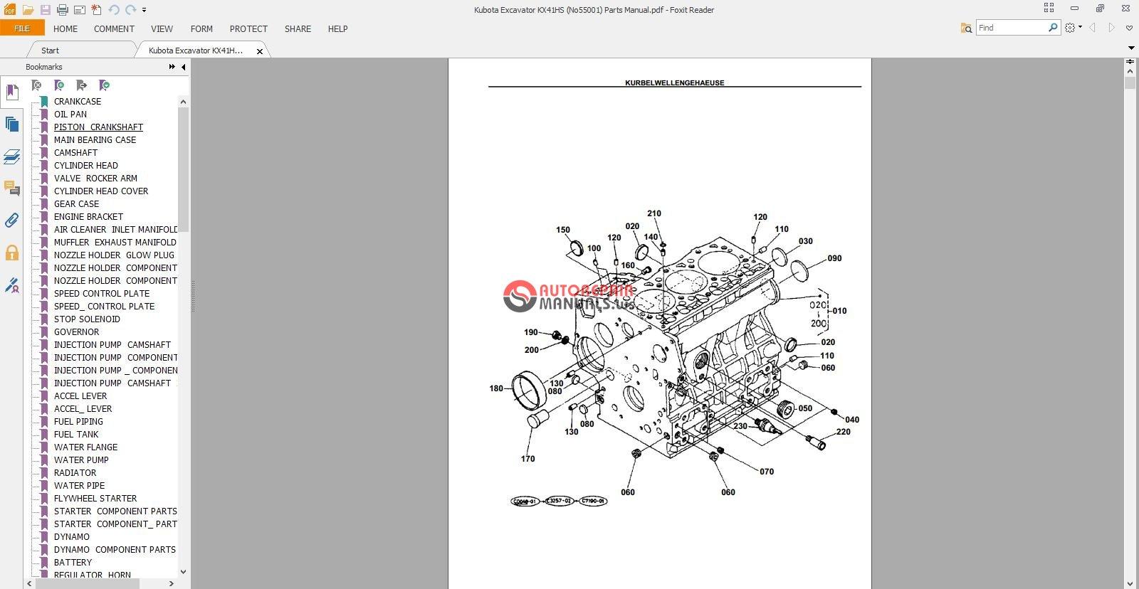 kubota kubota l4200 dsl 2 4 wd ku p l3600 pts parts manual