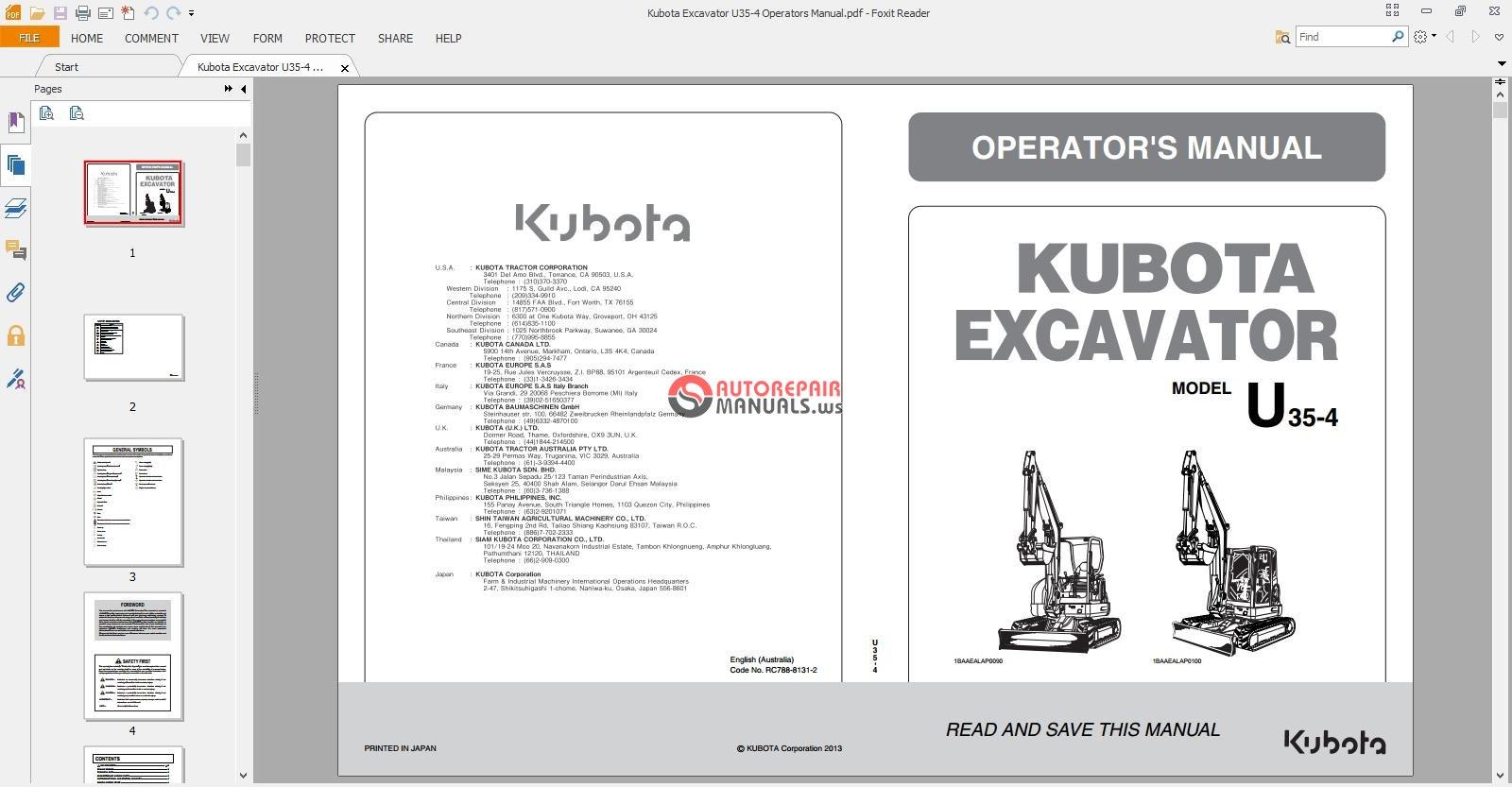 Kubota Excavator U35-4 Operators Manual.jpg