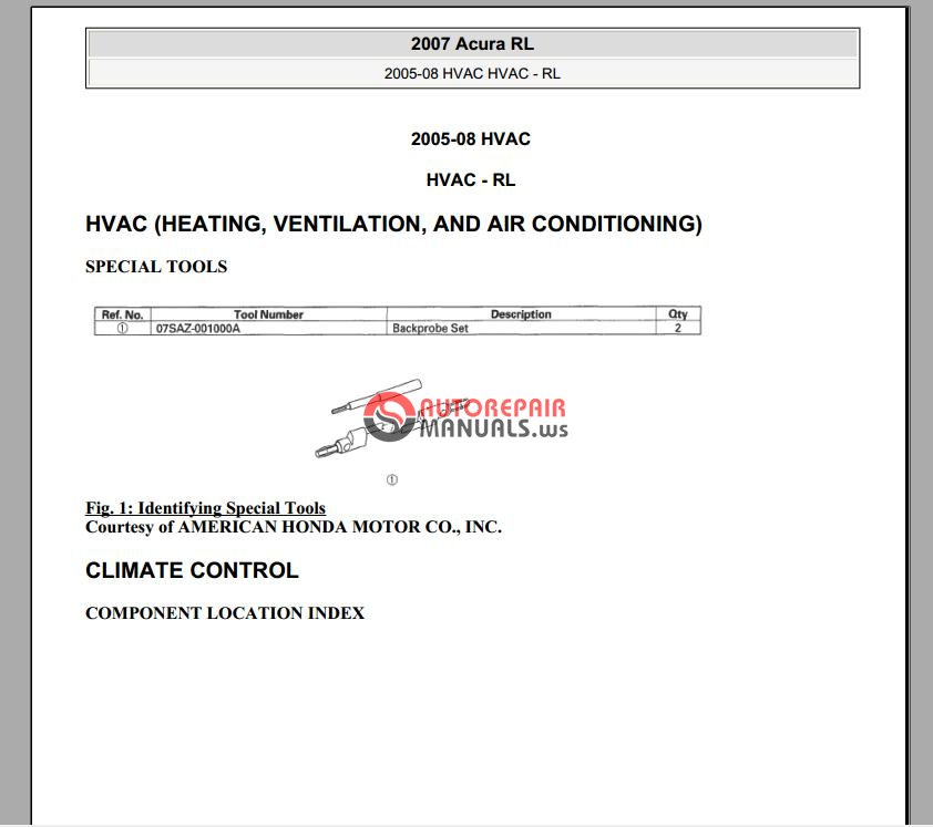 Acura RL 2005-2007 Service Manual - HVAC