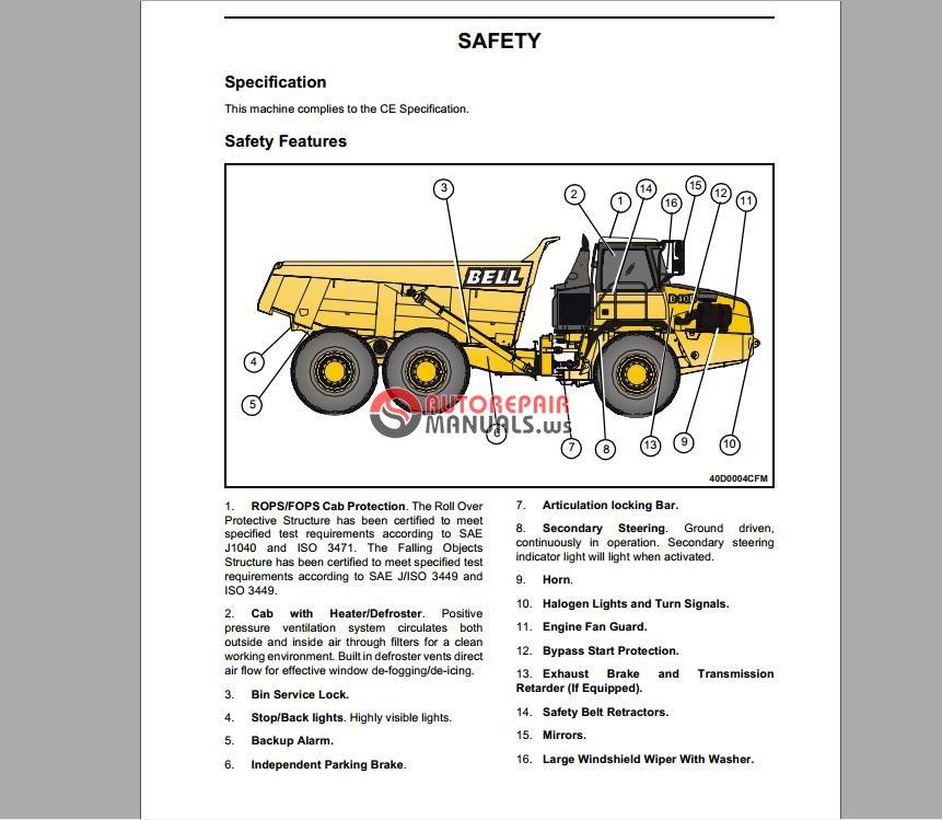 bell equipment b35d b40d operation test manual dumptruck rh autorepairmanuals ws tamiya dump truck manual dump truck manual tarp