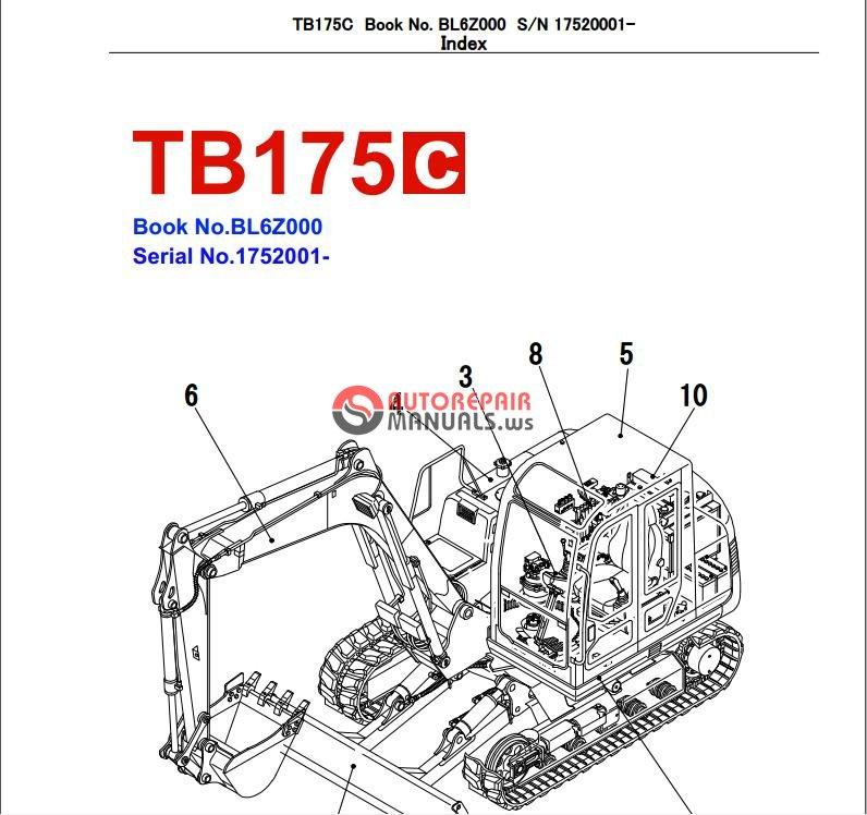 takeuchi excavator tb175 c parts manual