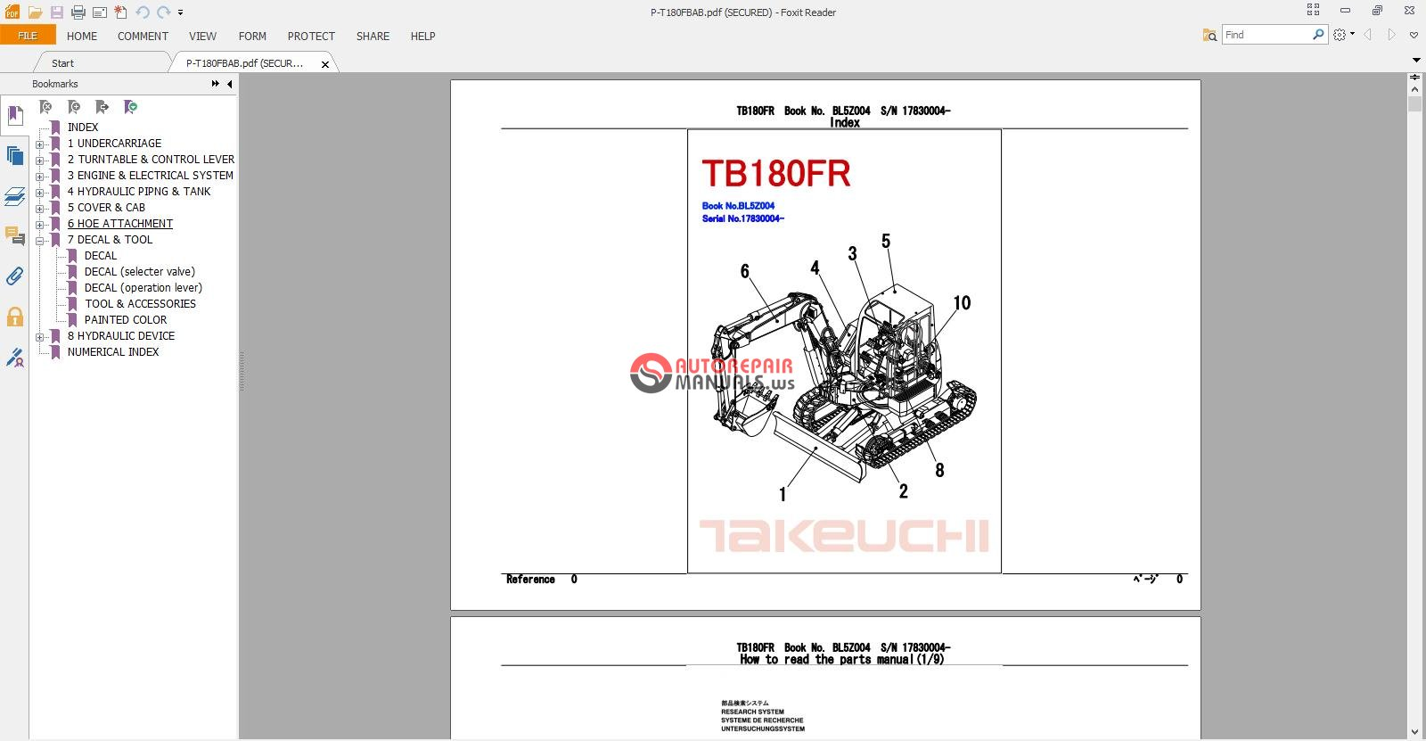 takeuchi excavator tb180 fr parts manual auto repair. Black Bedroom Furniture Sets. Home Design Ideas