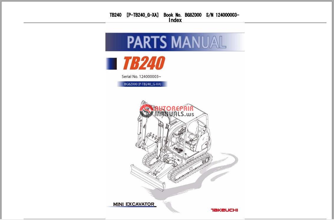 Takeuchi tl250 operators Manual