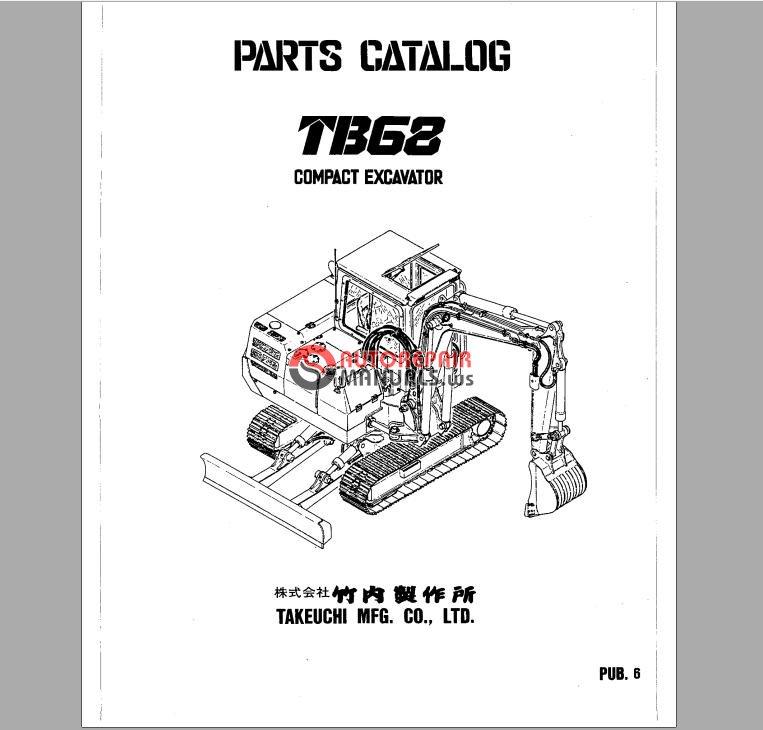 takeuchi compact excavator tb68 parts manual