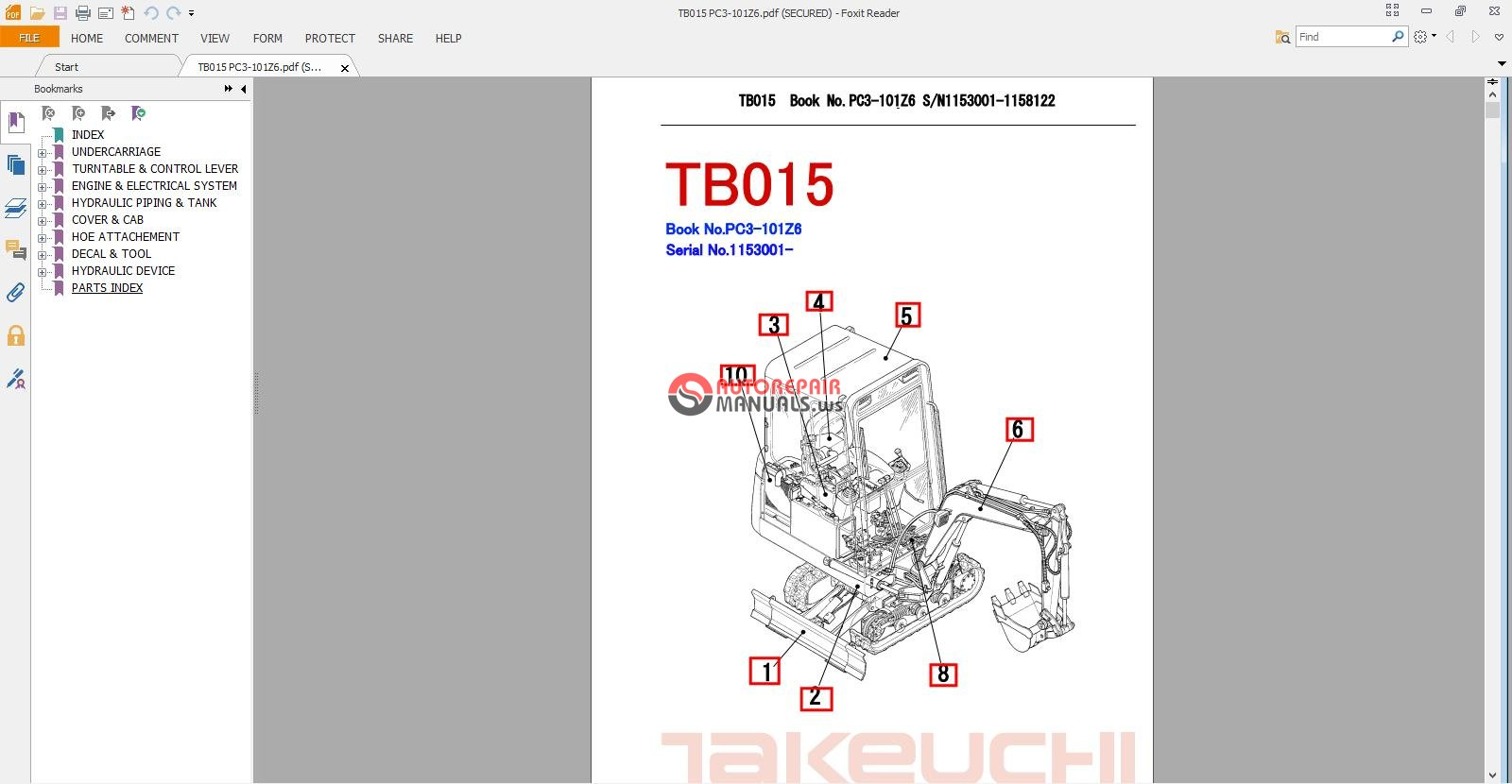 Takeuchi Tb15 parts Manual