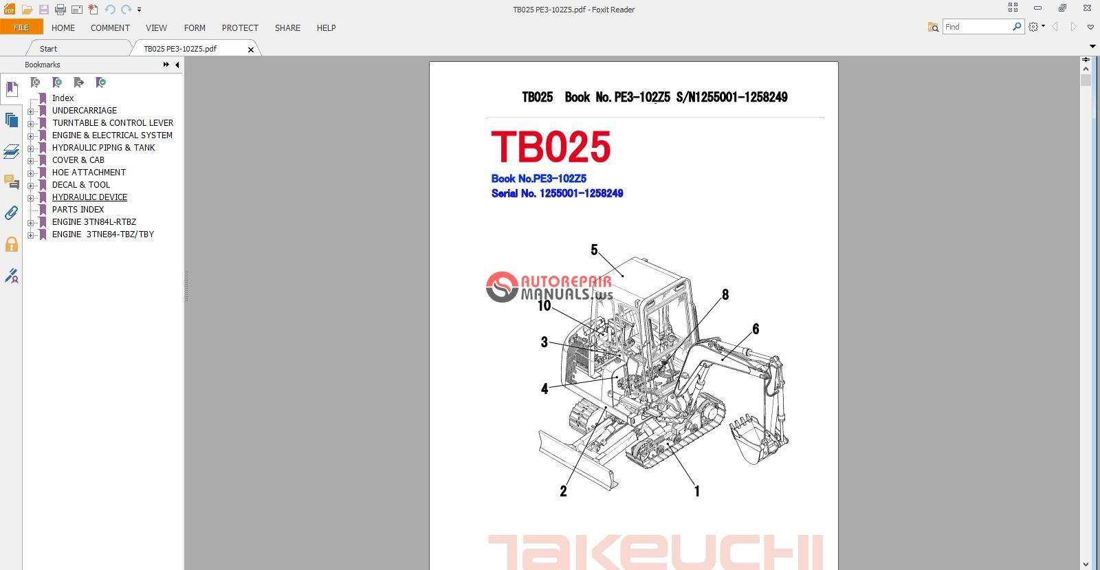 Takeuchi Excavator Tb025 Parts Manual Auto Repair Forum Wiring Diagram