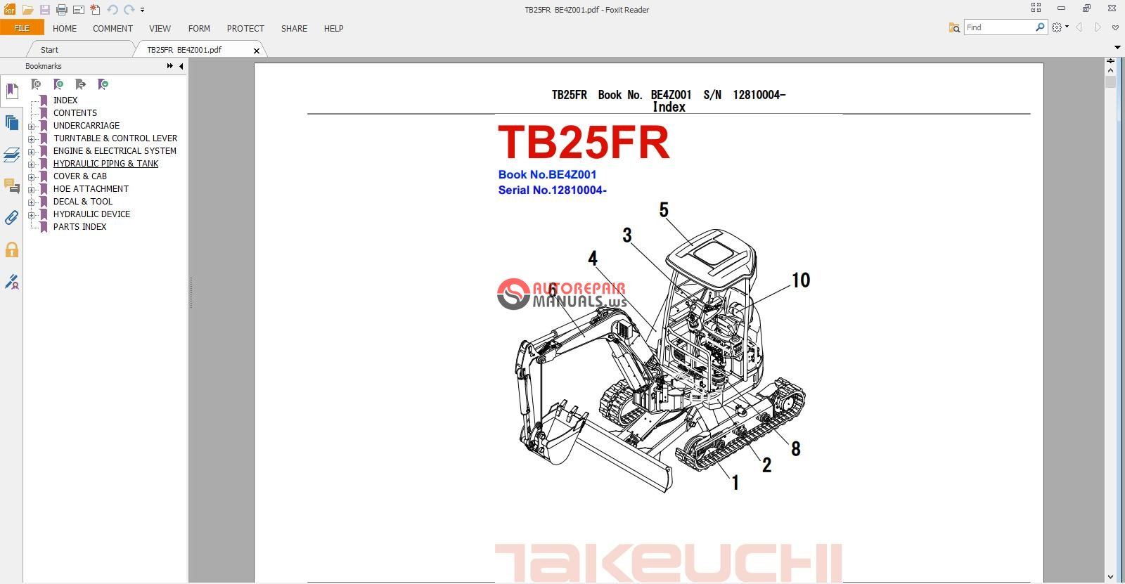 takeuchi excavator tb25 fr parts manual auto repair. Black Bedroom Furniture Sets. Home Design Ideas