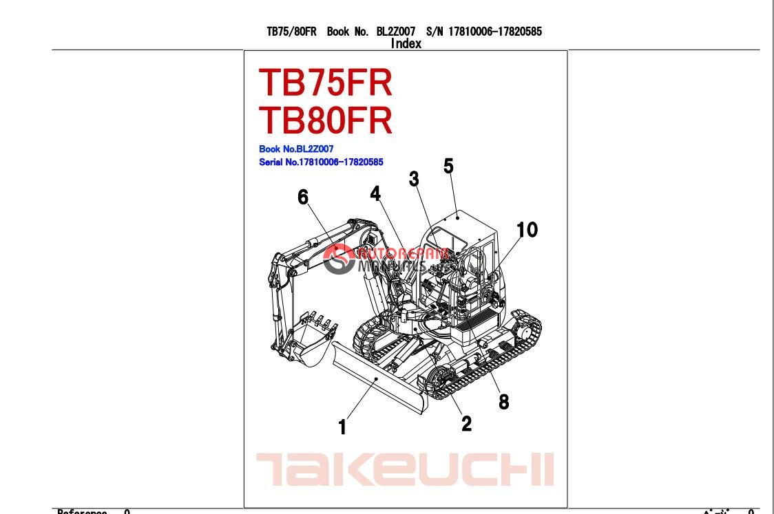 takeuchi excavator tb80 fr parts manual auto repair. Black Bedroom Furniture Sets. Home Design Ideas