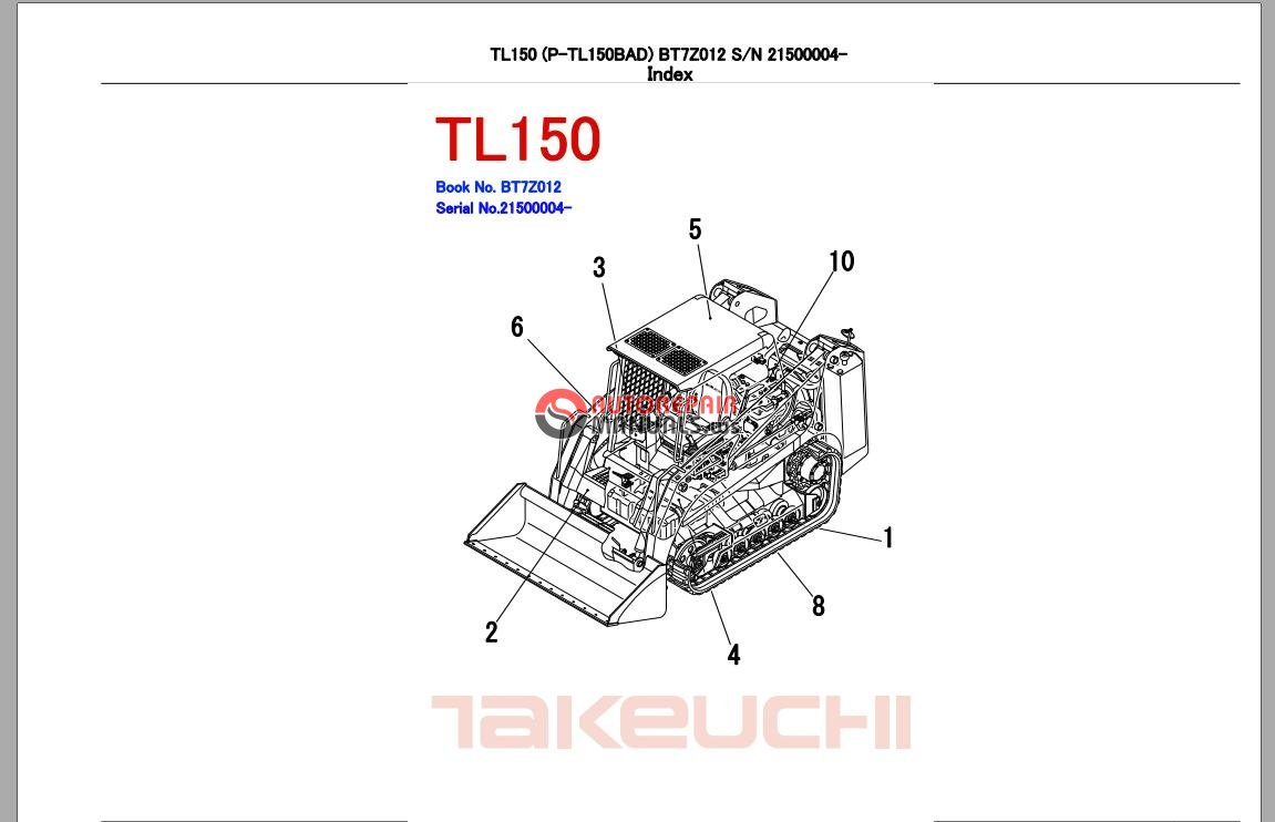 takeuchi track loader tl150 parts manual auto repair. Black Bedroom Furniture Sets. Home Design Ideas