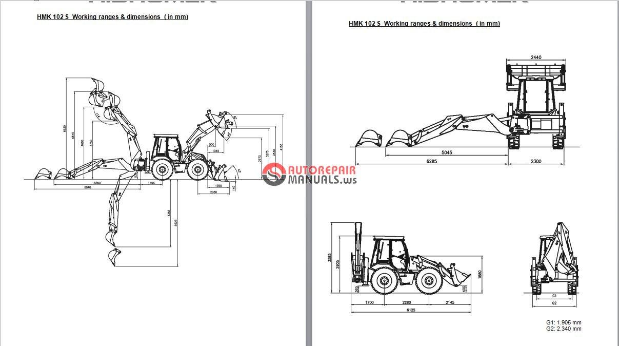 hidromek hmk 102b 102s backhoe loader operating  u0026 maintenance manual