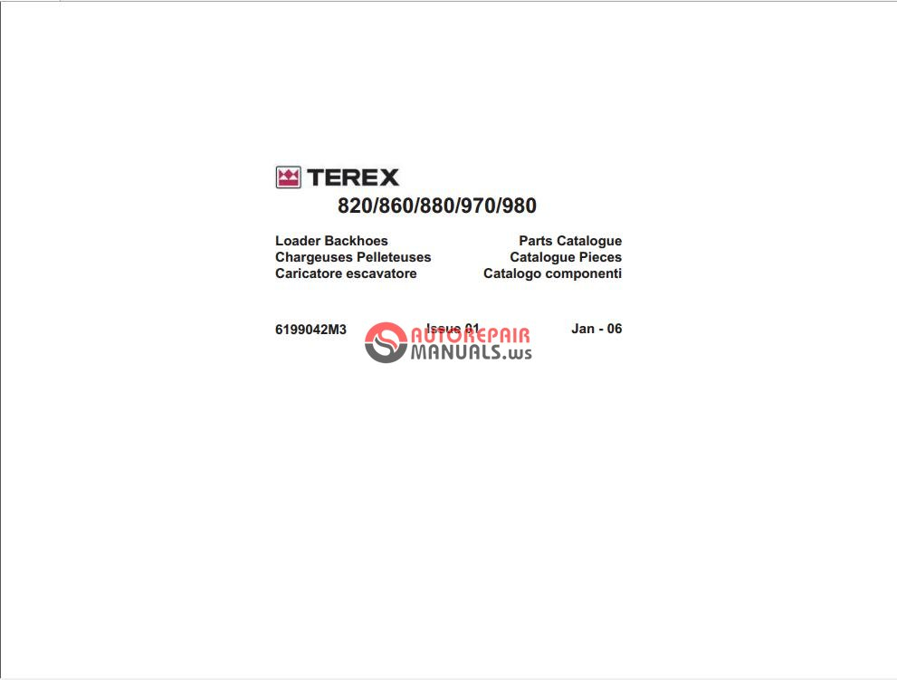 Terex 820 860 880 970 980 Loaders Backhoes Spare Parts Manual