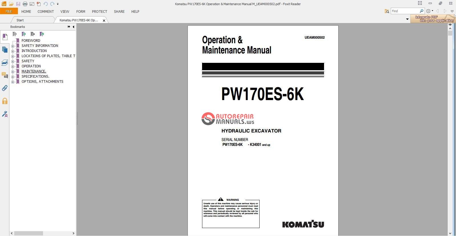Komatsu Pw170es 6k Operation Amp Maintenance Manual M border=