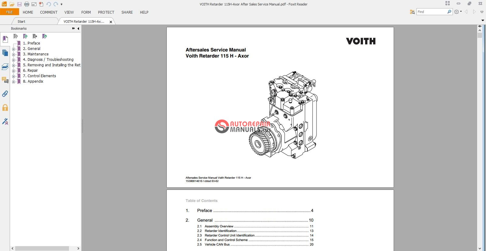 VOITH Retarder 115H-Axor After Sales Service Manual | Auto