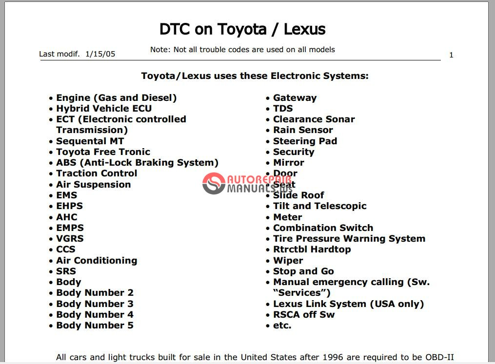 Toyota And Lexus Specefic Trouble Codes