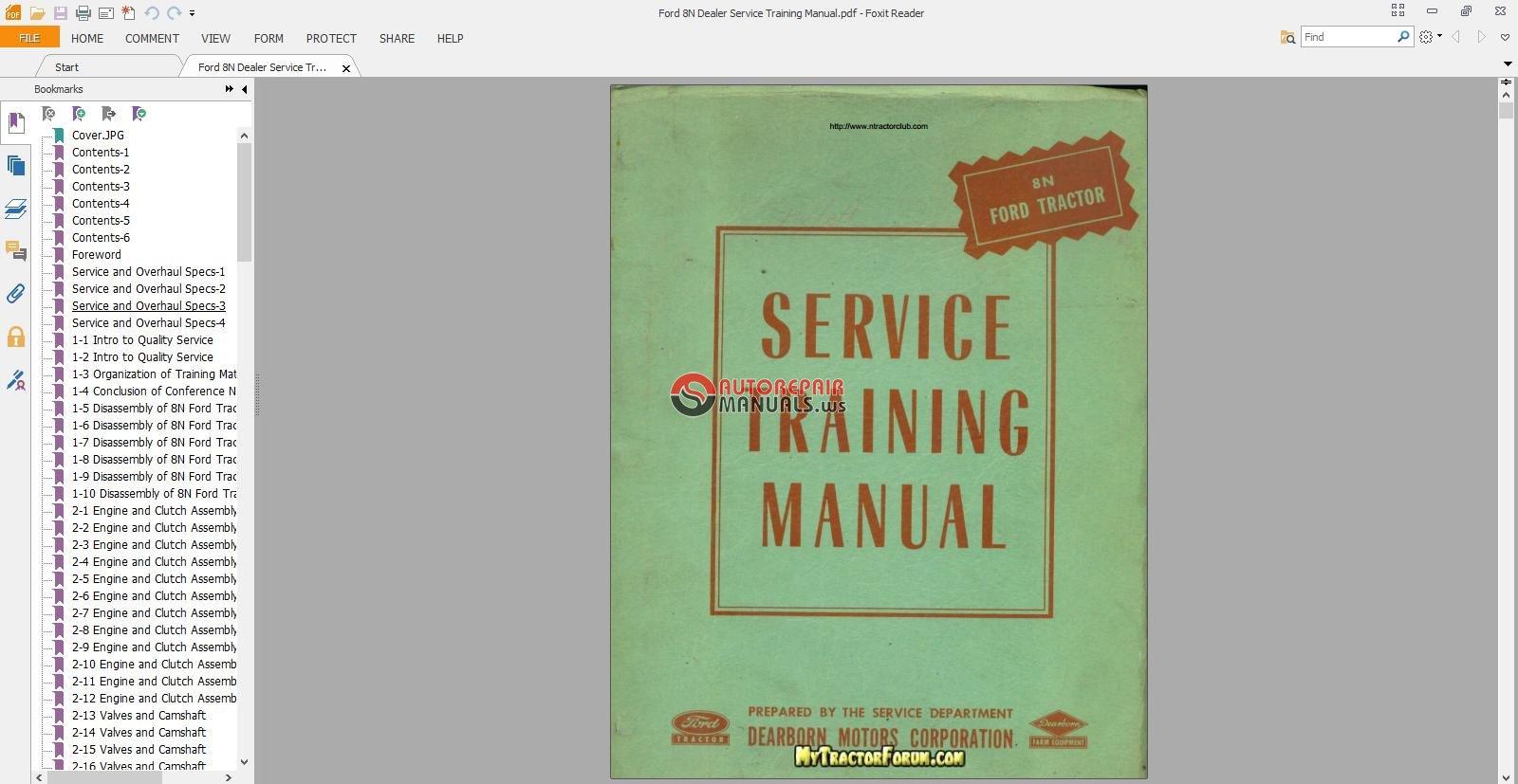 Ford 8n Dealer Service Training Manual Auto Repair Forum Pdf