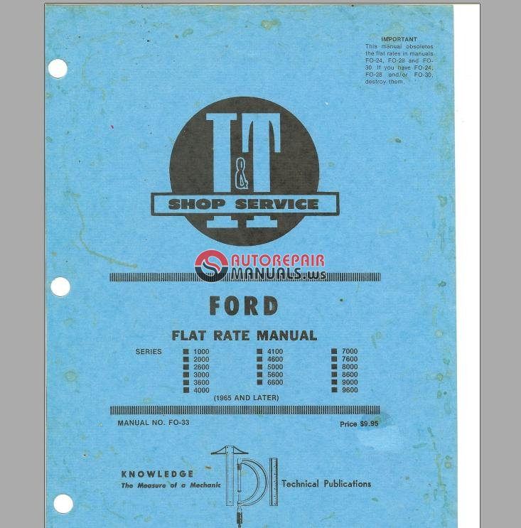 Old Ford Tractor Flat Rate Manual