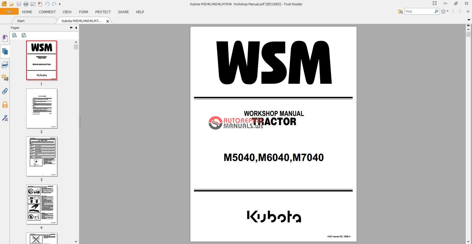 Kubota M5040 M6040 M7040 Workshop Manual