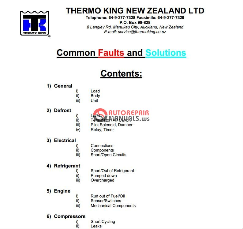 thermo king t1000 service manual