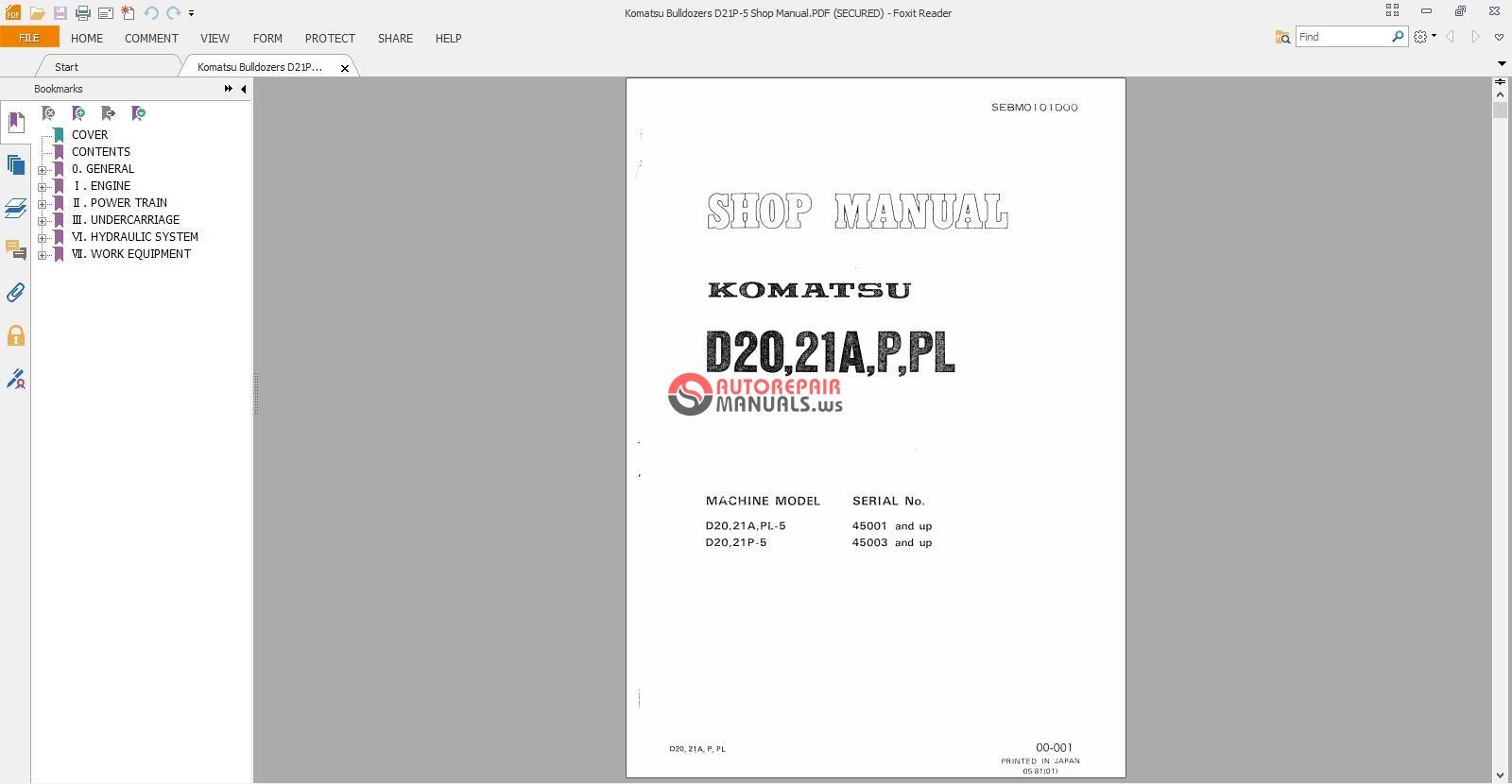 Komatsu Bulldozers D21p