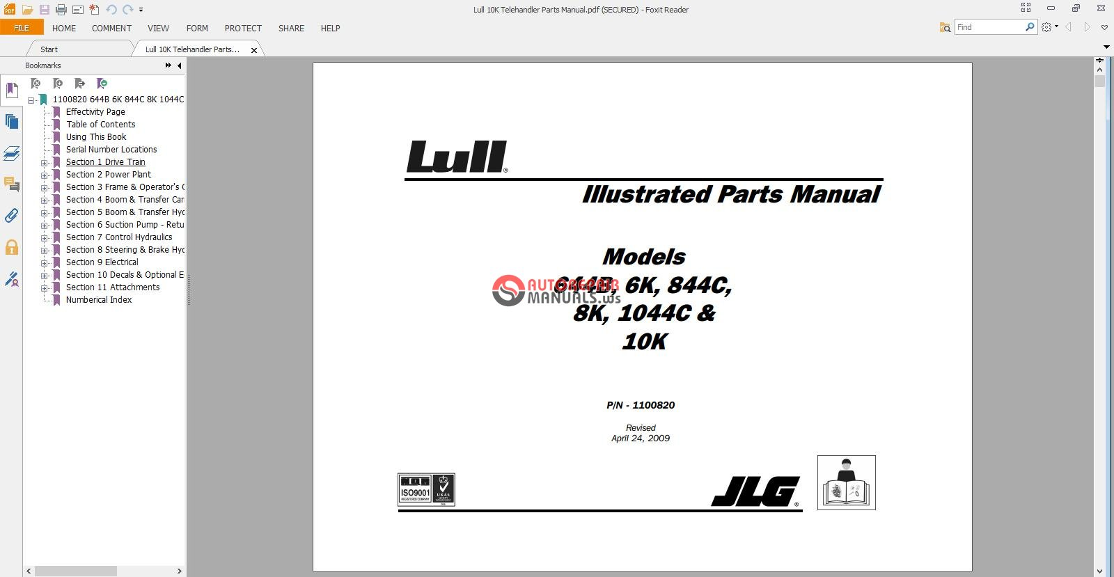 lull 10k telehandler parts manual jpg