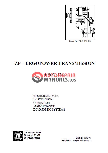 zf ergopower transmission 4 wg 310 service auto repair manual rh autorepairmanuals ws ZF 8 Speed Transmission ZF 8 Speed Transmission