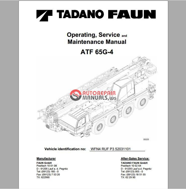 tadano atf 65g 4 operating service and maintenance manual auto rh autorepairmanuals ws tadano tr200m service manual tadano tr500m service manual