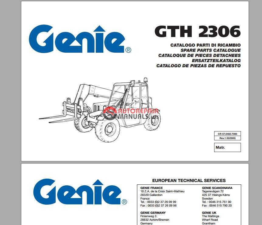 Genie GTH-2306, GTH-2506 Telehandler Parts Manuals | Auto
