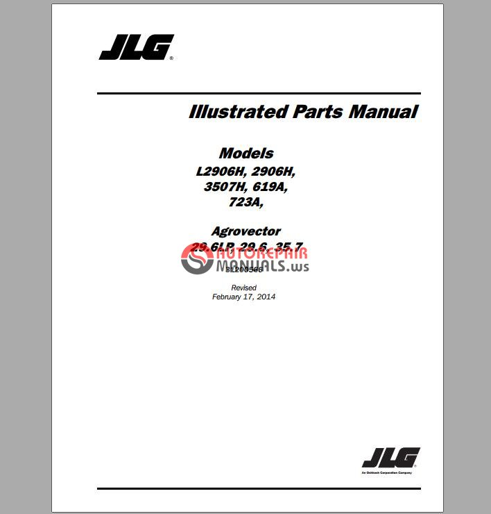 jlg l2906h telehandler parts manual