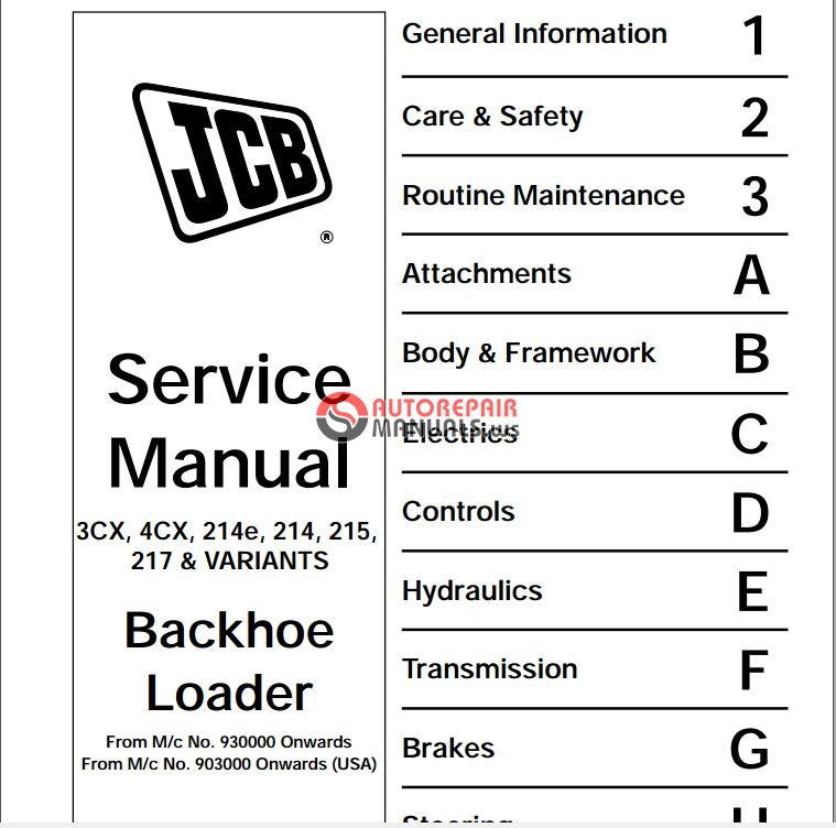 JCB 3CX,4CX Service Manual | Auto Repair Manual Forum - Heavy ...