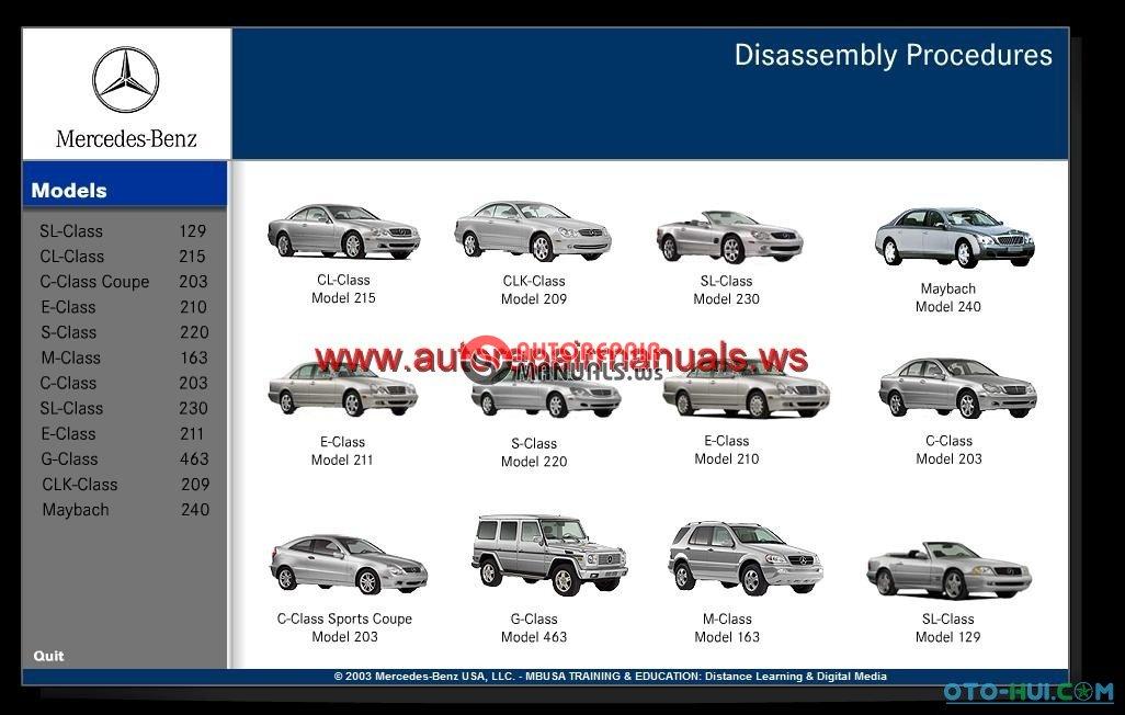mercedes benz tranining  mercedes benz disassembly mercedes w203 workshop manual mb w203 workshop manual