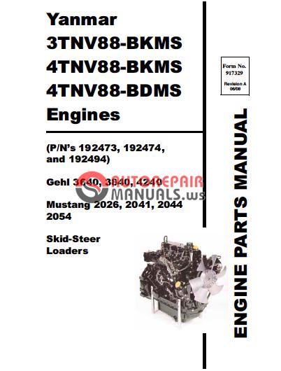 gehl yanmar 3tnv88 bkms 4tnv88 bkms 4tnv88 bdms engines parts manual rh autorepairmanuals ws 4tnv88 yanmar engine service manual yanmar 4tnv88 repair manual
