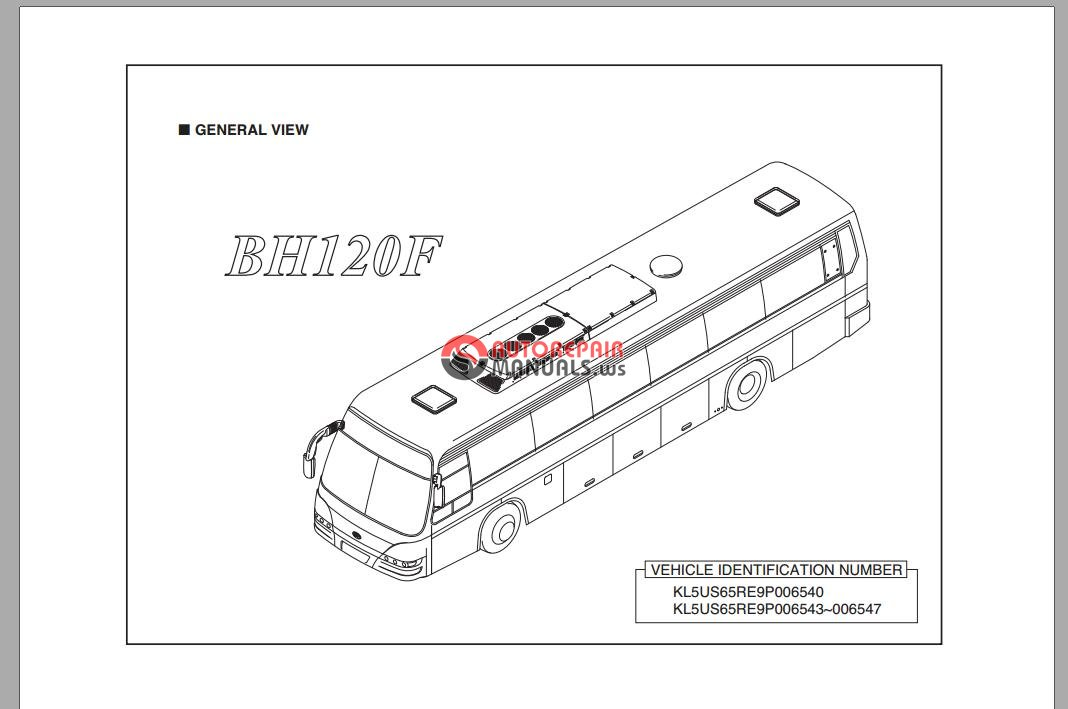 daewoo bus bh120f chassis parts catalog