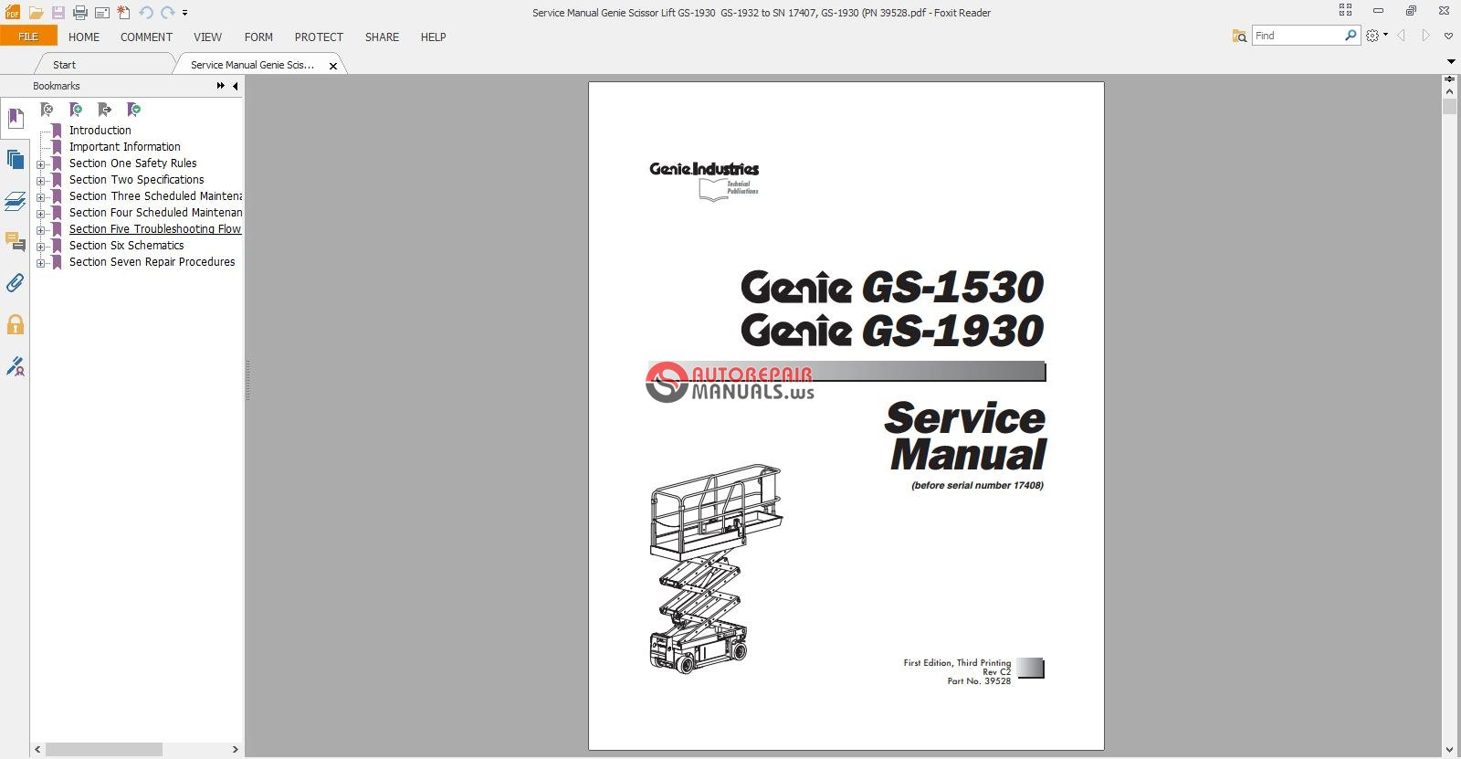 Genie Scissor Lift Manuals Charger For Jlg Wiring Diagram Service Manual Gs 1930 1932 To Sn 17407 Rh Autorepairmanuals Ws