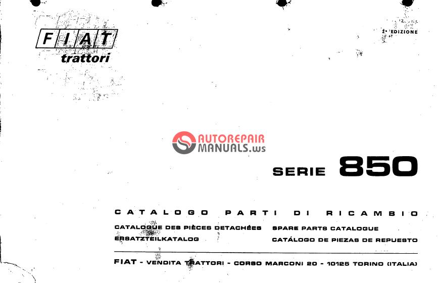 fiat tractor serie 850 spare parts catalogue auto repair. Black Bedroom Furniture Sets. Home Design Ideas
