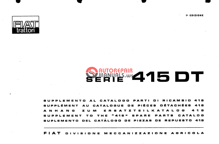 fiat tractor serie 415 dt spare parts catalogue auto repair manual rh autorepairmanuals ws Fiat Tractor Italy New Holland Tractors