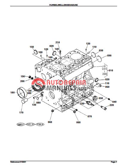 kubota engine kx61h n u00ba50001  55000 parts manuals
