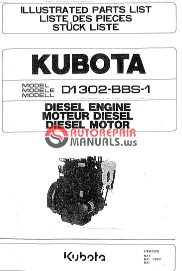 kubota engine d1302 bbs 1 parts manual auto repair. Black Bedroom Furniture Sets. Home Design Ideas