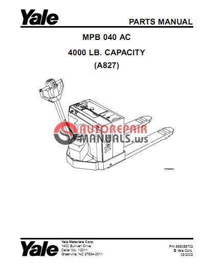 yale mpb040 wiring schematics yale pallet jack