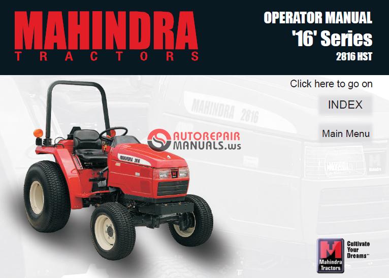 Mahindra Tractor 16 Series 2816 Hst Operator Manual