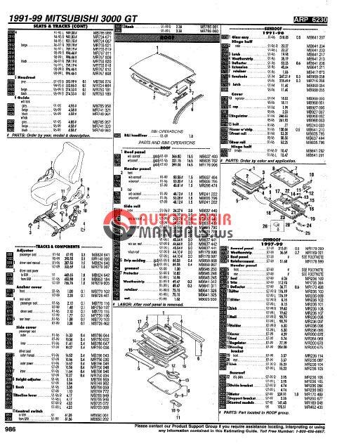 mitsubishi 91-99 parts manual 3000gt