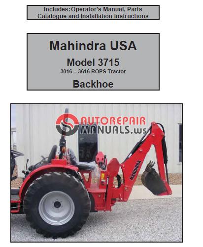 Mahindra Tractor Parts Manual : Mahindra usa backhoe model operators parts manual and