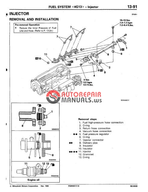 mitsubishi colt lancer 1992-1995 service manual
