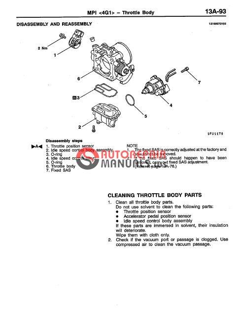 Mitsubishi Colt Lancer 1996-2001 Service Manual