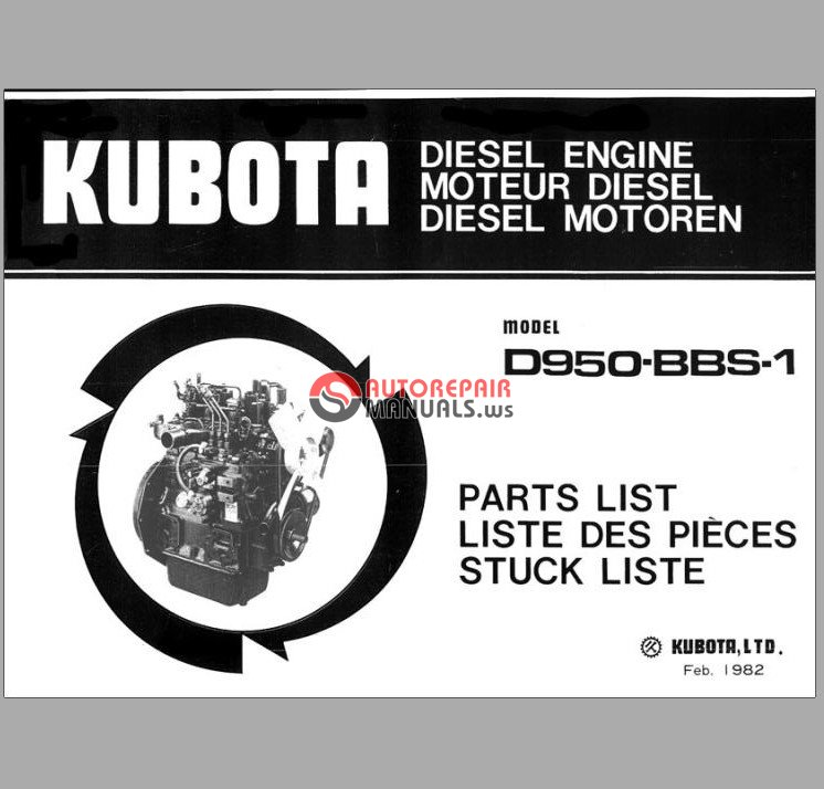 D950 kubota service Manual
