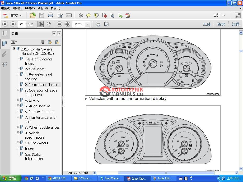 Toyota Corolla Altis 2014 Onwer Manual | Auto Repair Manual Forum