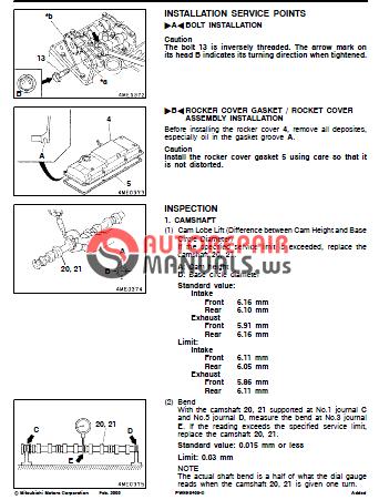 mitsubishi diesel engines 4m41 service manual mmc canter auto rh autorepairmanuals ws