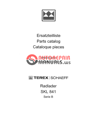 terex schaeff skl841b 2030 el parts catalog auto repair. Black Bedroom Furniture Sets. Home Design Ideas