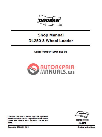 doosan dl250-3 wheel loader shop manual