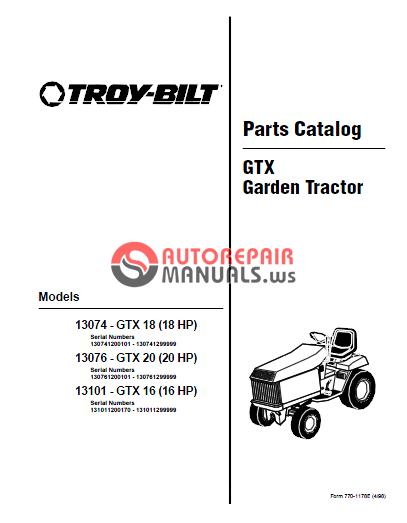bolens  troy bilt tractor gtx16