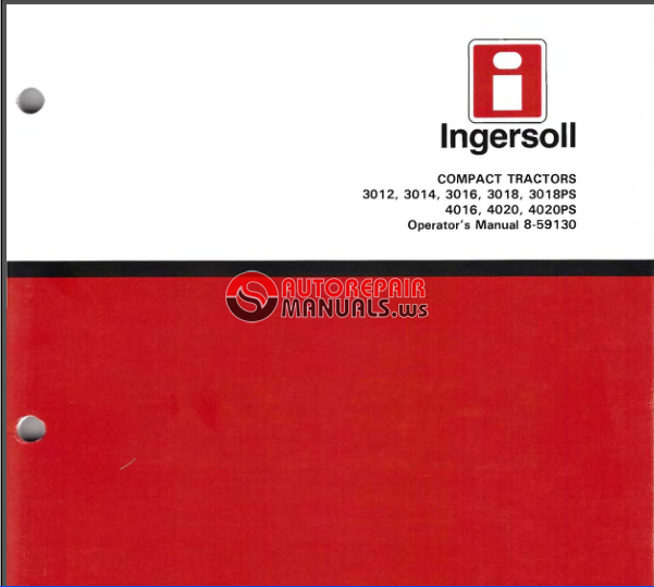 Case  Ingersoll Compact Tractor 3012 3014 3016  3018